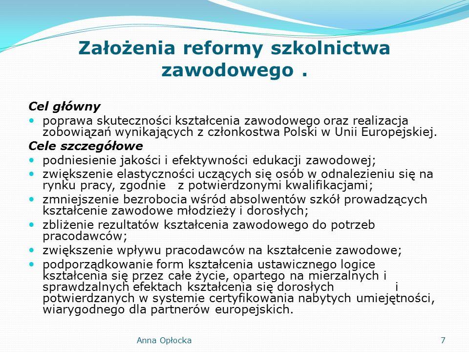 Założenia reformy szkolnictwa zawodowego.