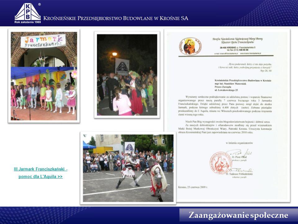 Zaangażowanie społeczne III Jarmark Franciszkański - pomoc dla L Aquila >>