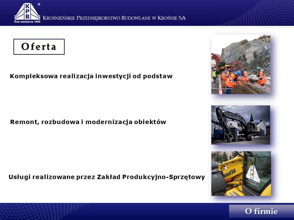 Kompleksowa realizacja inwestycji od podstaw Remont, rozbudowa i modernizacja obiektów Usługi realizowane przez Zakład Produkcyjno-Sprzętowy Oferta O firmie