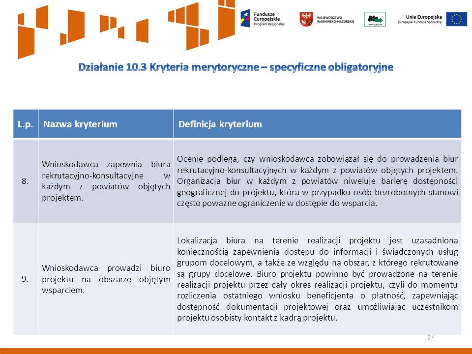 24 L.p.Nazwa kryteriumDefinicja kryterium 8.