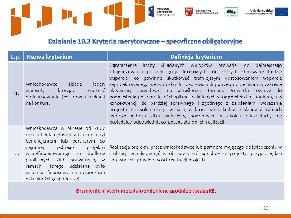 26 L.p.Nazwa kryteriumDefinicja kryterium 11.