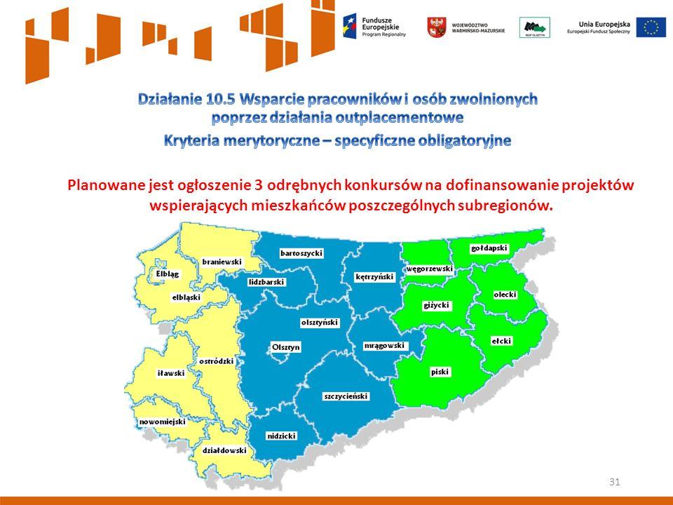 31 Planowane jest ogłoszenie 3 odrębnych konkursów na dofinansowanie projektów wspierających mieszkańców poszczególnych subregionów.