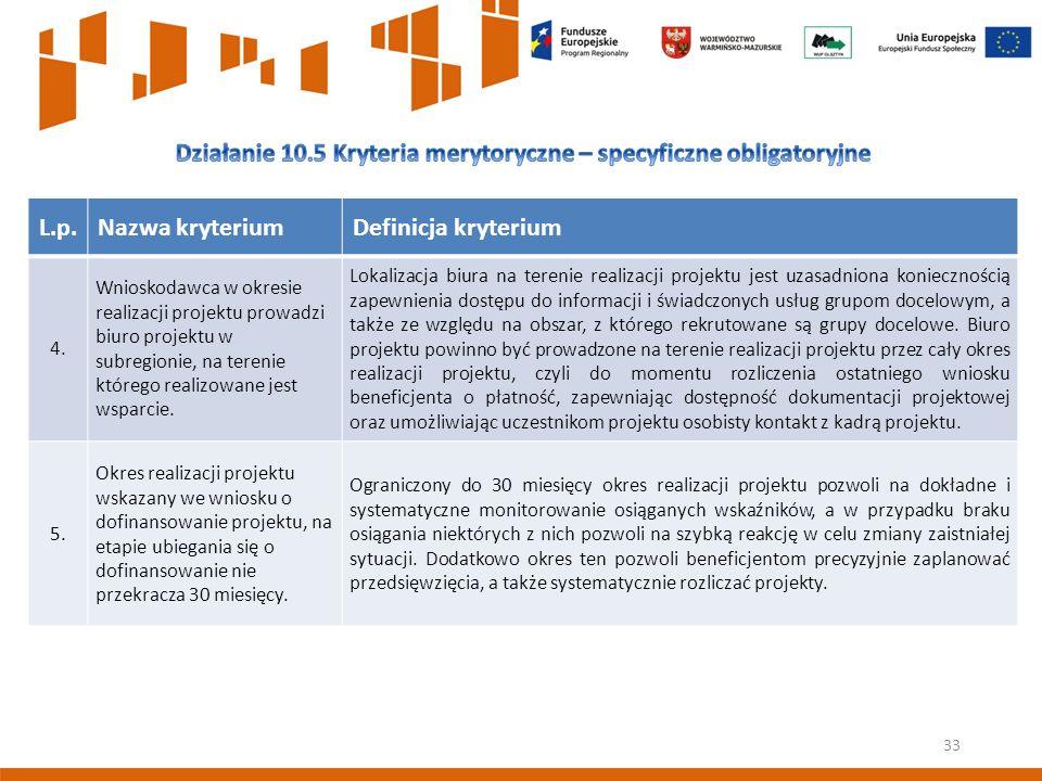 33 L.p.Nazwa kryteriumDefinicja kryterium 4.