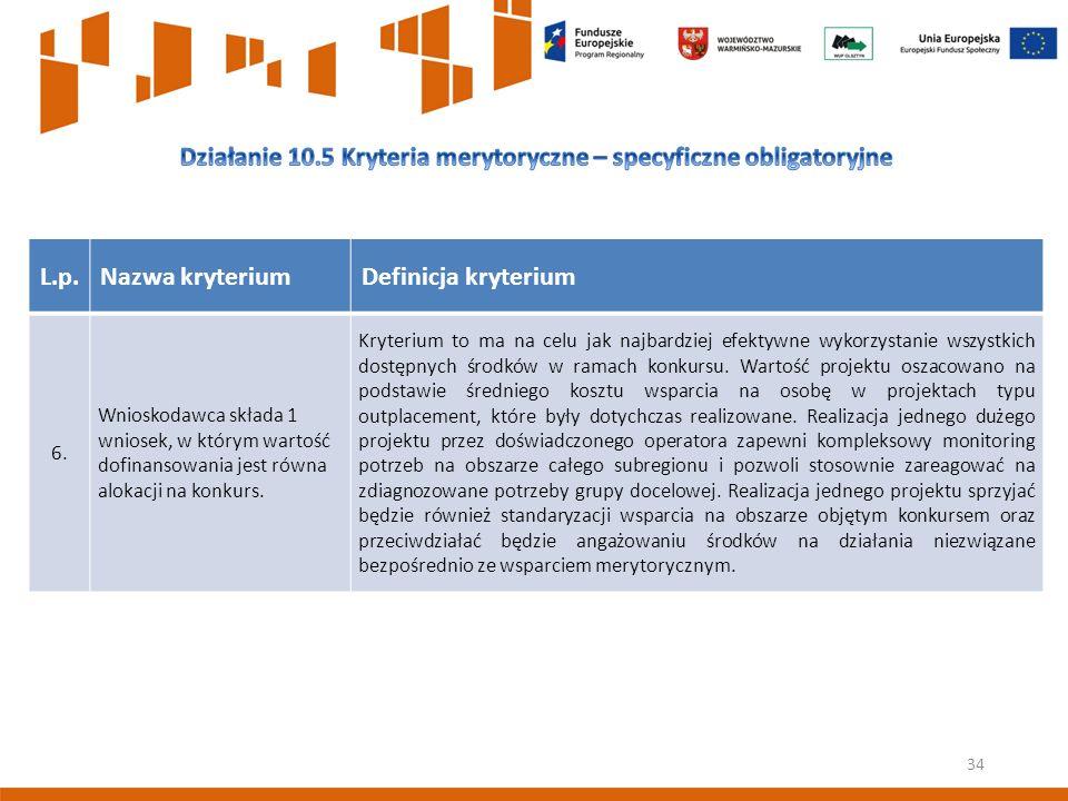 34 L.p.Nazwa kryteriumDefinicja kryterium 6.