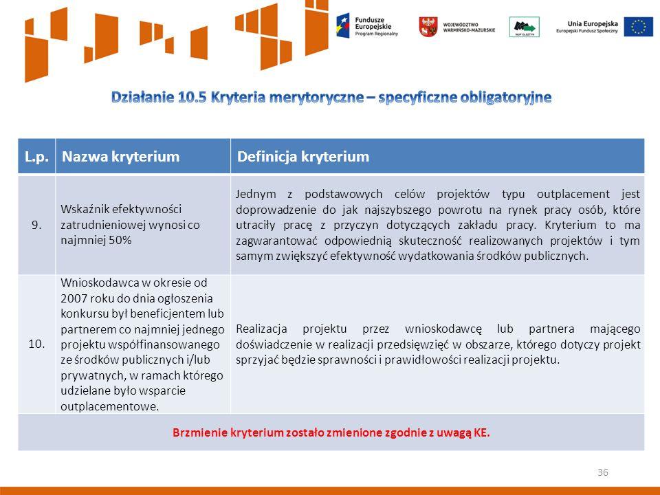 36 L.p.Nazwa kryteriumDefinicja kryterium 9.