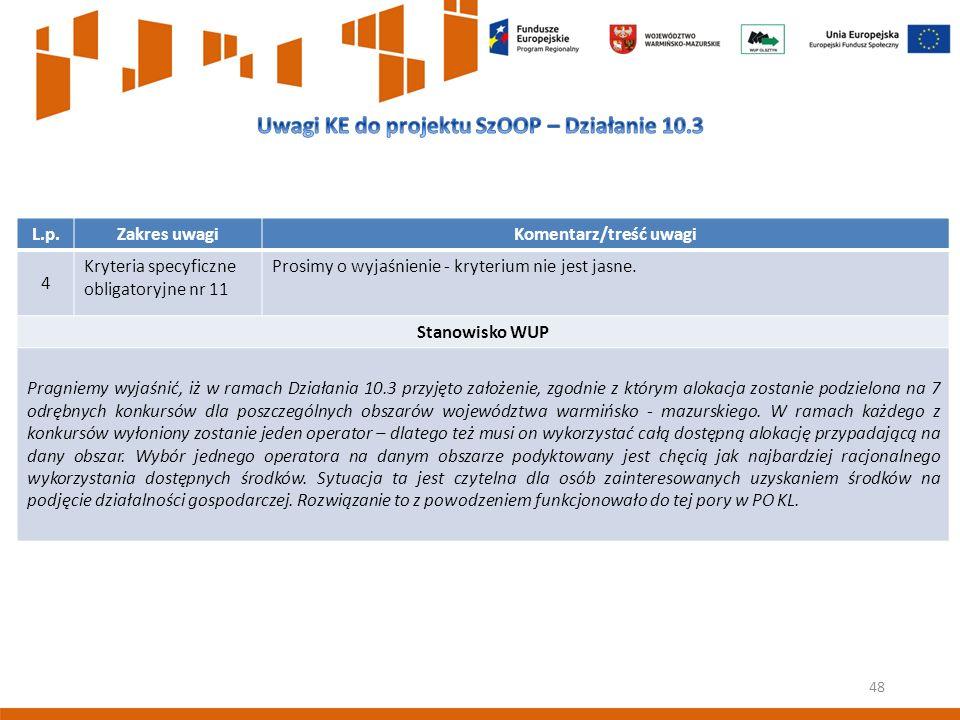 48 L.p.Zakres uwagiKomentarz/treść uwagi 4 Kryteria specyficzne obligatoryjne nr 11 Prosimy o wyjaśnienie - kryterium nie jest jasne.