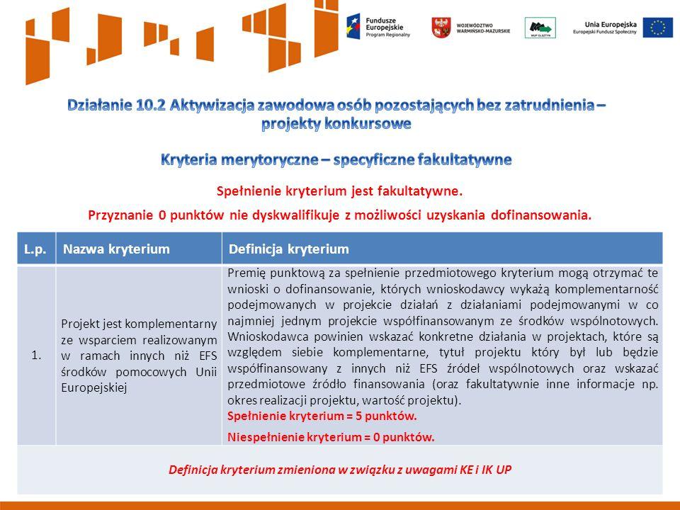 7 L.p.Nazwa kryteriumDefinicja kryterium 1.