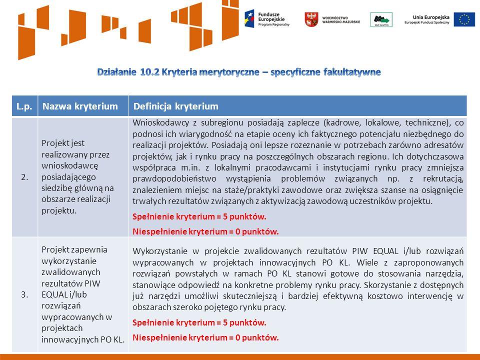 8 L.p.Nazwa kryteriumDefinicja kryterium 2.