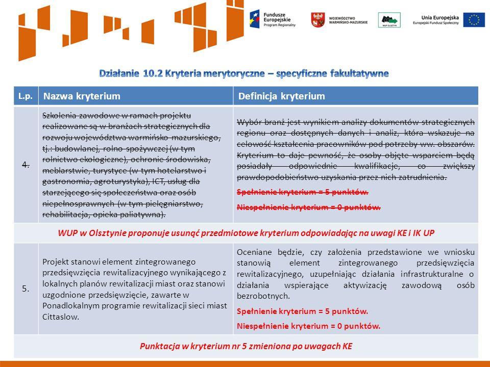 9 L.p. Nazwa kryteriumDefinicja kryterium 4.