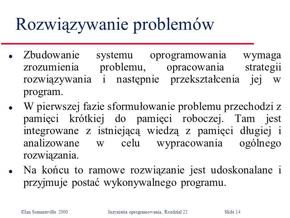 ©Ian Sommerville 2000 Inżynieria oprogramowania, Rozdział 22Slide 14 Rozwiązywanie problemów l Zbudowanie systemu oprogramowania wymaga zrozumienia problemu, opracowania strategii rozwiązywania i następnie przekształcenia jej w program.