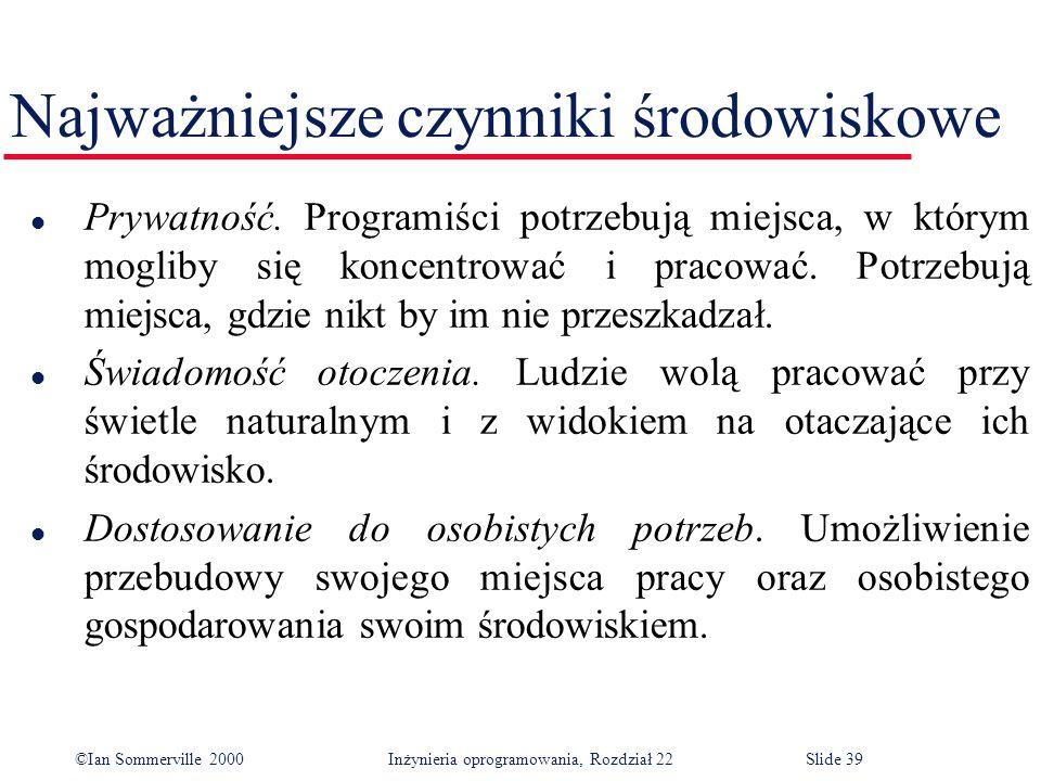 ©Ian Sommerville 2000 Inżynieria oprogramowania, Rozdział 22Slide 39 Najważniejsze czynniki środowiskowe l Prywatność.