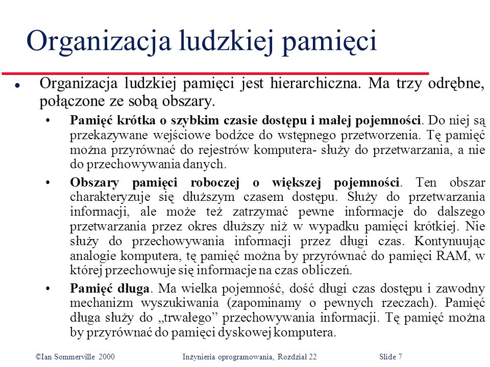©Ian Sommerville 2000 Inżynieria oprogramowania, Rozdział 22Slide 7 Organizacja ludzkiej pamięci l Organizacja ludzkiej pamięci jest hierarchiczna.