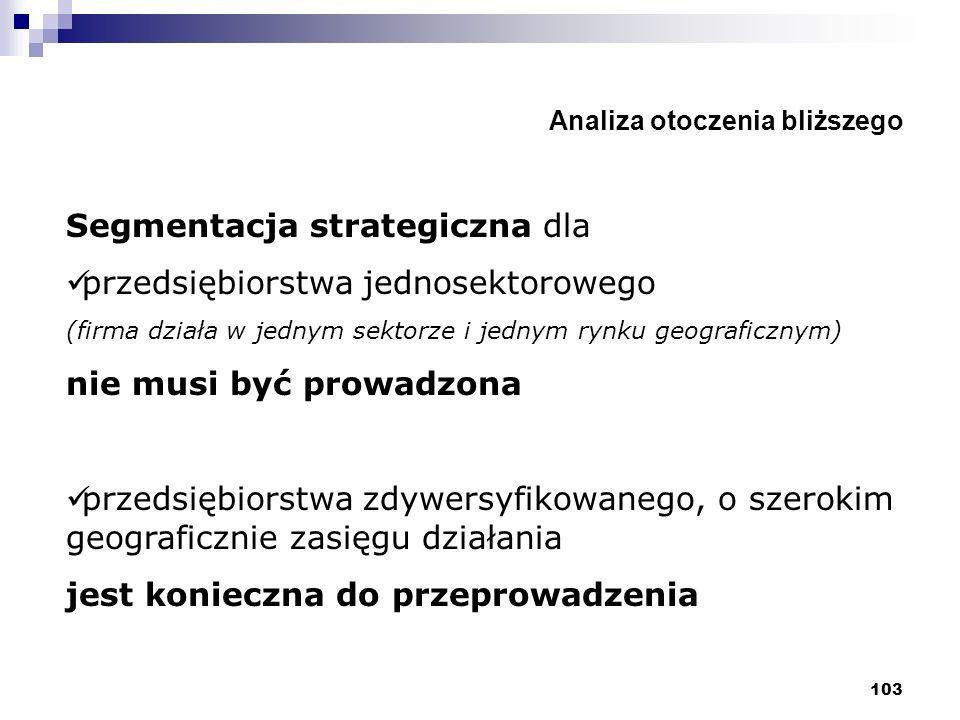 103 Analiza otoczenia bliższego Segmentacja strategiczna dla przedsiębiorstwa jednosektorowego (firma działa w jednym sektorze i jednym rynku geografi