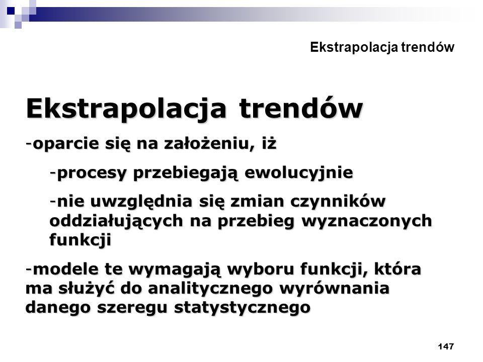 147 Ekstrapolacja trendów -oparcie się na założeniu, iż -procesy przebiegają ewolucyjnie -nie uwzględnia się zmian czynników oddziałujących na przebie