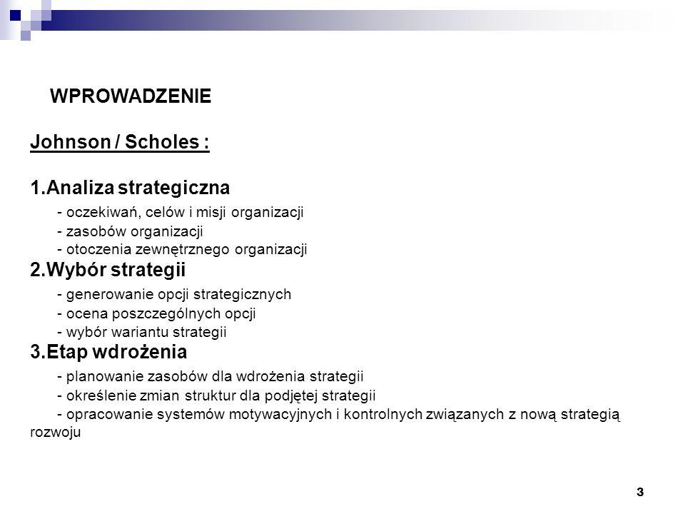3 WPROWADZENIE Johnson / Scholes : 1.Analiza strategiczna - oczekiwań, celów i misji organizacji - zasobów organizacji - otoczenia zewnętrznego organi