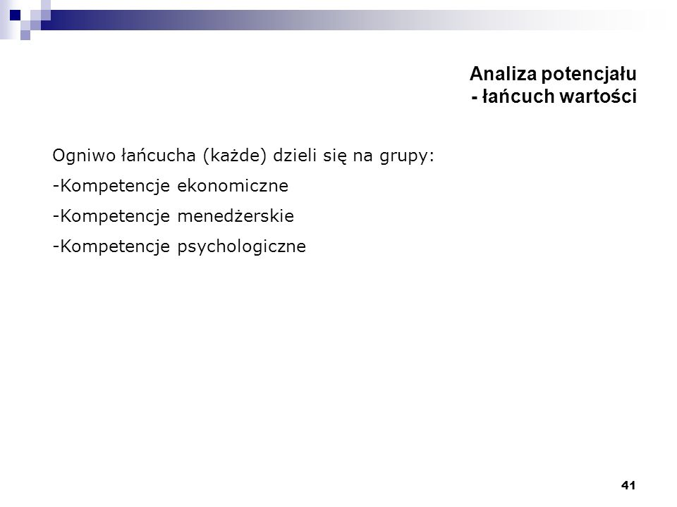 41 Analiza potencjału - łańcuch wartości Ogniwo łańcucha (każde) dzieli się na grupy: -Kompetencje ekonomiczne -Kompetencje menedżerskie -Kompetencje