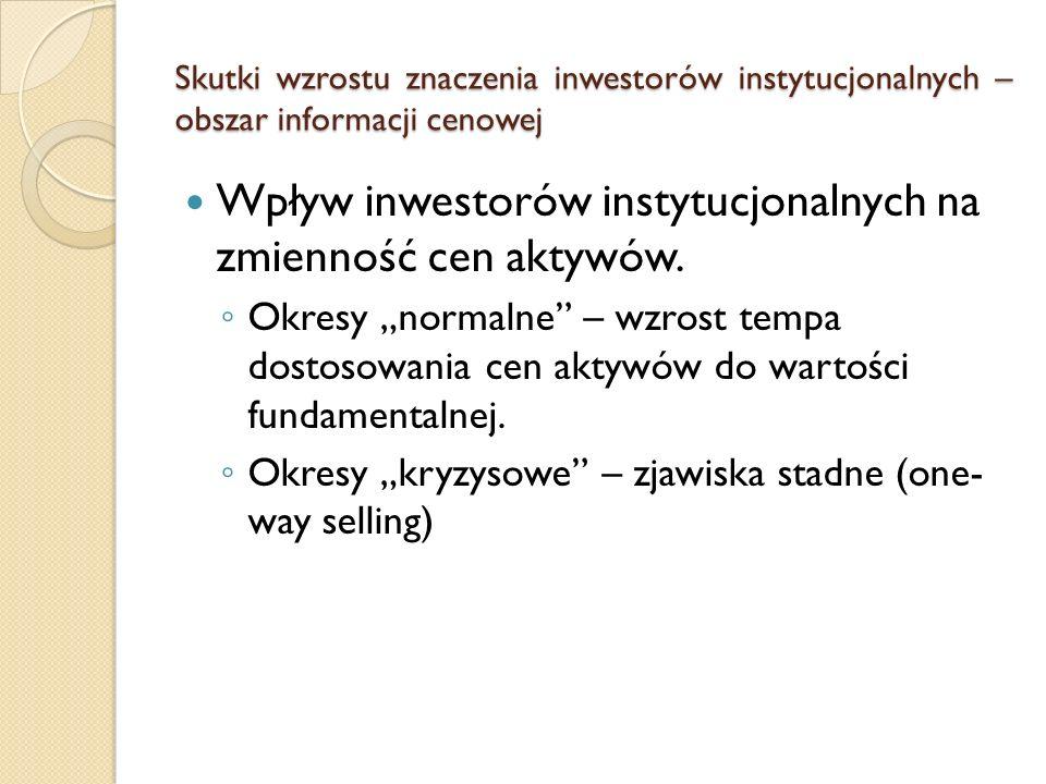 Skutki wzrostu znaczenia inwestorów instytucjonalnych – obszar informacji cenowej Wpływ inwestorów instytucjonalnych na zmienność cen aktywów. ◦ Okres