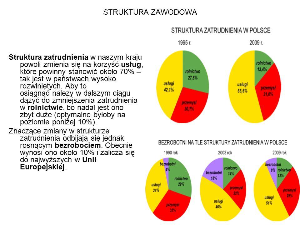 STRUKTURA ZAWODOWA Struktura zatrudnienia w naszym kraju powoli zmienia się na korzyść usług, które powinny stanowić około 70% – tak jest w państwach