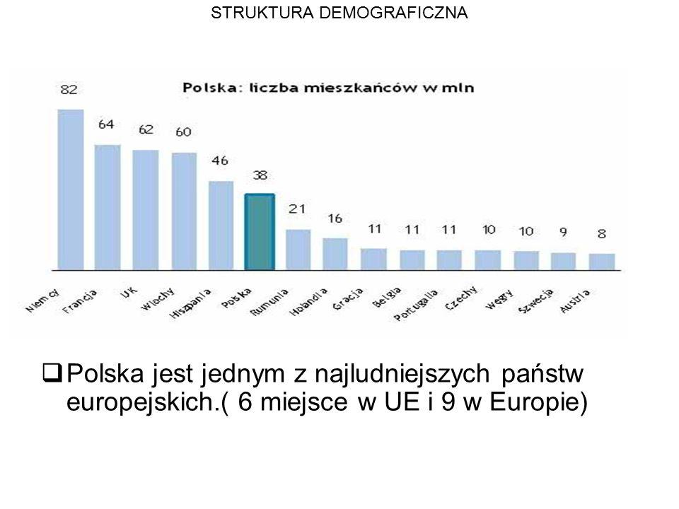 STRUKTURA DEMOGRAFICZNA  Polska jest jednym z najludniejszych państw europejskich.( 6 miejsce w UE i 9 w Europie)