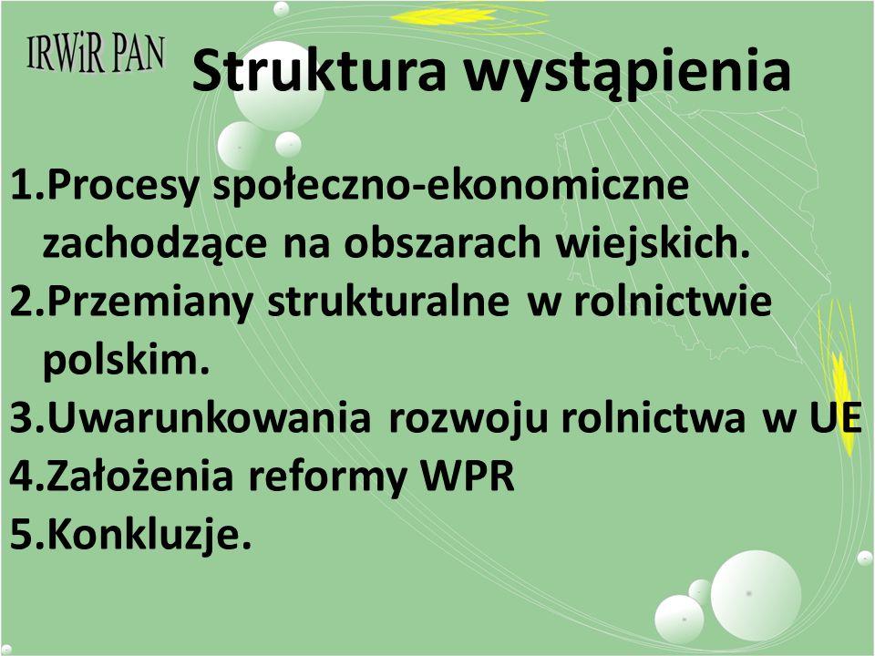 Struktura wystąpienia 1.Procesy społeczno-ekonomiczne zachodzące na obszarach wiejskich.