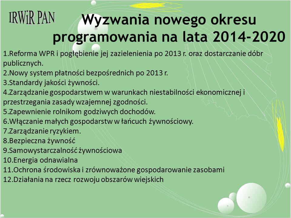 Wyzwania nowego okresu programowania na lata 2014-2020 1.Reforma WPR i pogłębienie jej zazielenienia po 2013 r.
