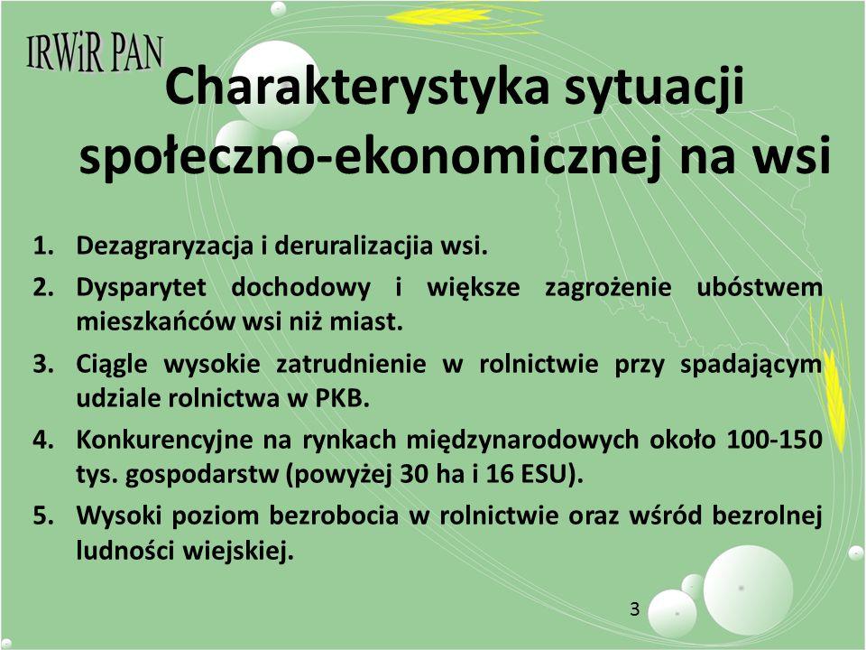 3 Charakterystyka sytuacji społeczno-ekonomicznej na wsi 1.Dezagraryzacja i deruralizacjia wsi.