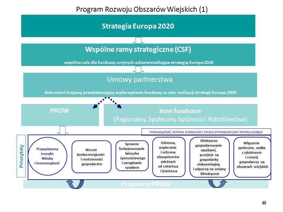 40 Program Rozwoju Obszarów Wiejskich (1) Wspólne ramy strategiczne (CSF) wspólne cele dla funduszy unijnych odzwierciedlające strategię Europa 2020 Umowy partnerstwa dokument krajowy przedstawiający wykorzystanie funduszy w celu realizacji strategii Europa 2020 PROW Inne fundusze (Regionalny, Społeczny, Spójności i Rybołówstwa) Programy PROW Strategia Europa 2020 Włączenie społeczne, walka z ubóstwem i rozwój gospodarczy na obszarach wiejskich Wzrost konkurencyjności i rentowności gospodarstw Sprawne funkcjonowanie łańcucha żywnościowego i zarządzanie ryzykiem Odnowa, wspieranie i ochrona ekosystemów zależnych od rolnictwa i leśnictwa Efektywne gospodarowanie zasobami, przejście na gospodarkę niskoemisyjną i odporną na zmiany klimatyczne Przyspieszony transfer Wiedzy i innowacyjność Priorytety Innowacyjność, ochrona środowiska i zmiany klimatyczne jako tematy wiodące