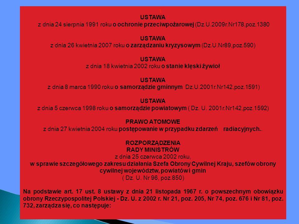 \ USTAWA z dnia 24 sierpnia 1991 roku o ochronie przeciwpożarowej (Dz.U.2009r.Nr178,poz.1380 USTAWA z dnia 26 kwietnia 2007 roku o zarządzaniu kryzysowym (Dz.U.Nr89,poz.590) USTAWA z dnia 18 kwietnia 2002 roku o stanie klęski żywioł USTAWA z dnia 8 marca 1990 roku o samorządzie gminnym Dz.U.2001r.Nr142,poz.1591) USTAWA z dnia 5 czerwca 1998 roku o samorządzie powiatowym ( Dz.