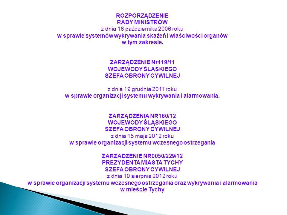 ROZPORZĄDZENIE RADY MINISTRÓW z dnia 16 października 2006 roku w sprawie systemów wykrywania skażeń i właściwości organów w tym zakresie.