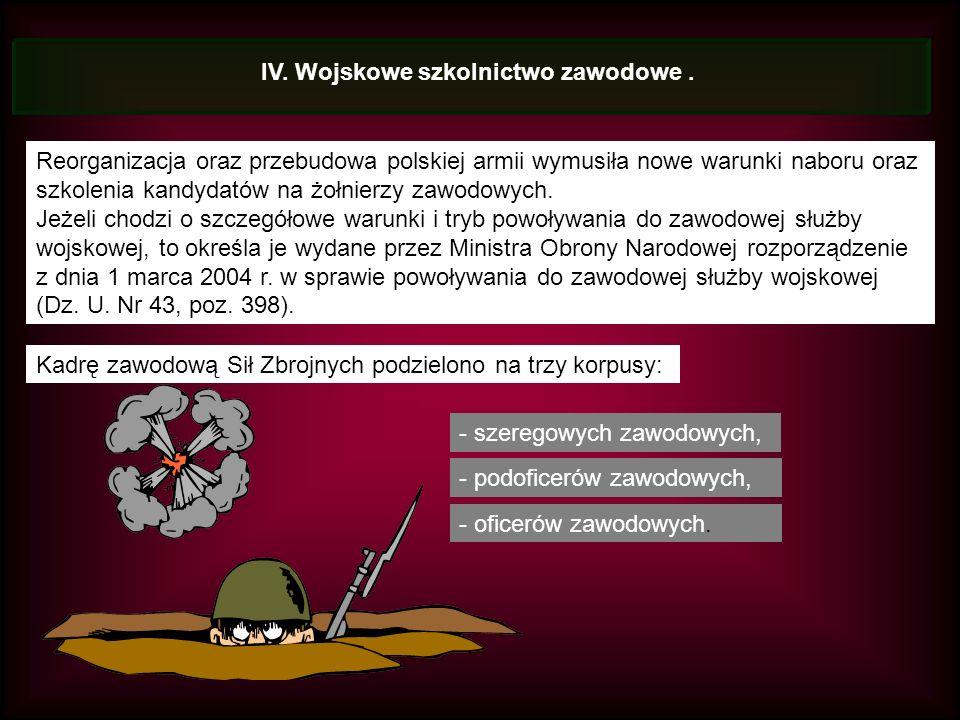 IV. Wojskowe szkolnictwo zawodowe.