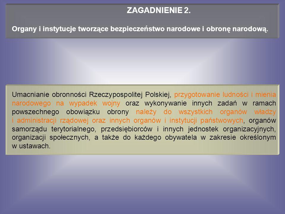 Umacnianie obronności Rzeczypospolitej Polskiej, przygotowanie ludności i mienia narodowego na wypadek wojny oraz wykonywanie innych zadań w ramach powszechnego obowiązku obrony należy do wszystkich organów władzy i administracji rządowej oraz innych organów i instytucji państwowych, organów samorządu terytorialnego, przedsiębiorców i innych jednostek organizacyjnych, organizacji społecznych, a także do każdego obywatela w zakresie określonym w ustawach.