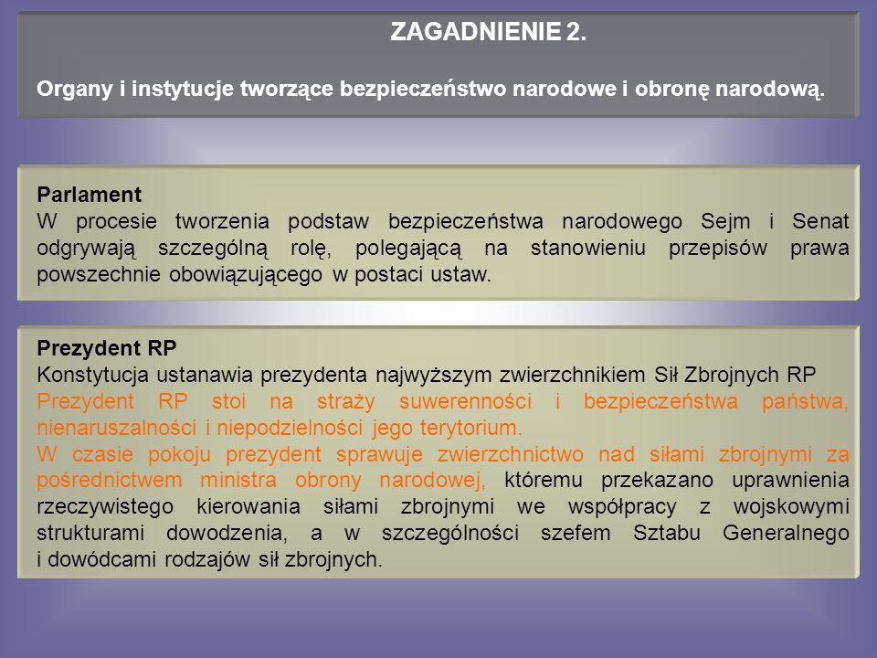 Parlament W procesie tworzenia podstaw bezpieczeństwa narodowego Sejm i Senat odgrywają szczególną rolę, polegającą na stanowieniu przepisów prawa powszechnie obowiązującego w postaci ustaw.