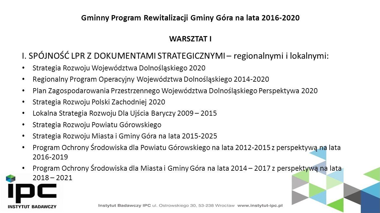 Gminny Program Rewitalizacji Gminy Góra na lata 2016-2020 WARSZTAT I I.