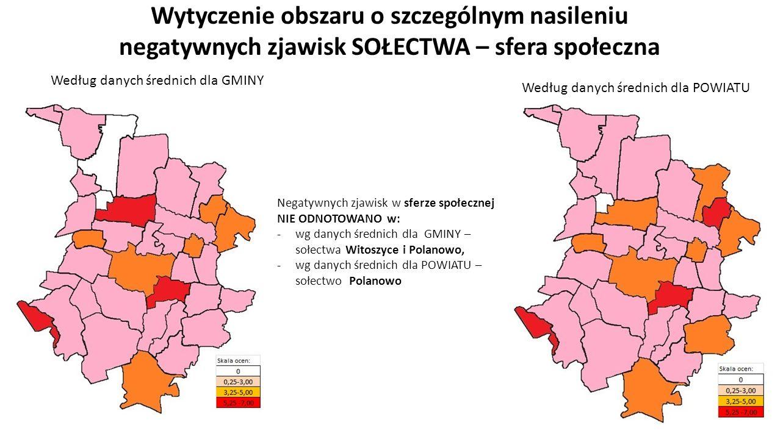 Wytyczenie obszaru o szczególnym nasileniu negatywnych zjawisk SOŁECTWA – sfera społeczna Negatywnych zjawisk w sferze społecznej NIE ODNOTOWANO w: -wg danych średnich dla GMINY – sołectwa Witoszyce i Polanowo, -wg danych średnich dla POWIATU – sołectwo Polanowo Według danych średnich dla GMINY Według danych średnich dla POWIATU