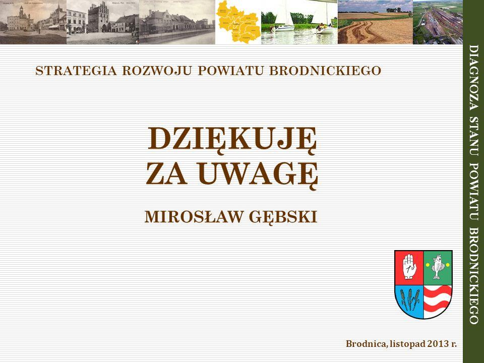 STRATEGIA ROZWOJU POWIATU BRODNICKIEGO DZIĘKUJĘ ZA UWAGĘ MIROSŁAW GĘBSKI Brodnica, listopad 2013 r. DIAGNOZA STANU POWIATU BRODNICKIEGO