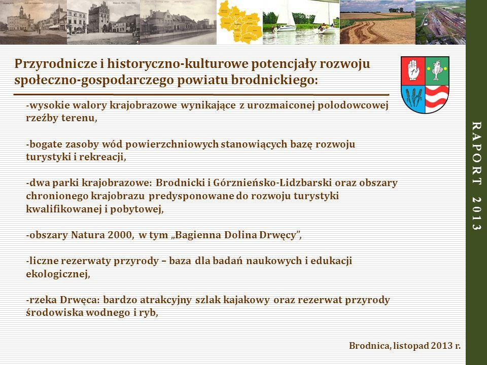 Brodnica, listopad 2013 r. R A P O R T 2 0 1 3 Przyrodnicze i historyczno-kulturowe potencjały rozwoju społeczno-gospodarczego powiatu brodnickiego: -