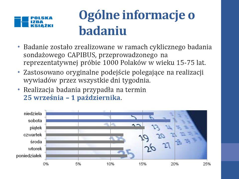 Ogólne informacje o badaniu Badanie zostało zrealizowane w ramach cyklicznego badania sondażowego CAPIBUS, przeprowadzonego na reprezentatywnej próbie 1000 Polaków w wieku 15-75 lat.