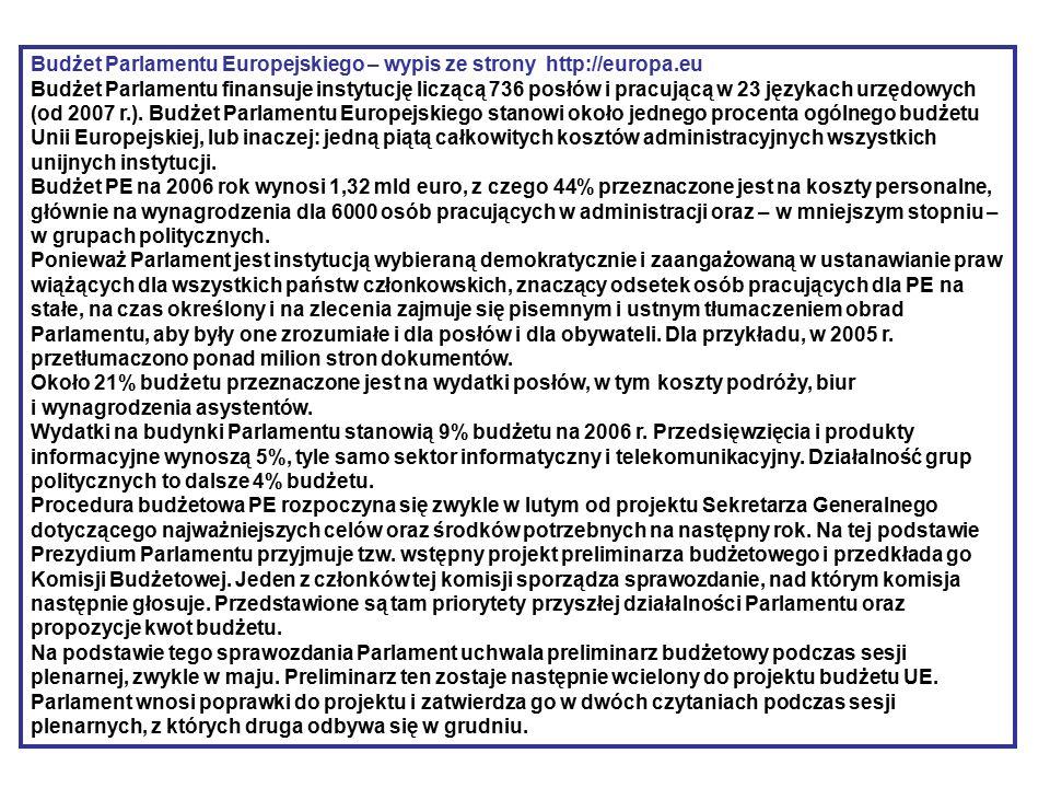 Budżet Parlamentu Europejskiego – wypis ze strony http://europa.eu Budżet Parlamentu finansuje instytucję liczącą 736 posłów i pracującą w 23 językach urzędowych (od 2007 r.).