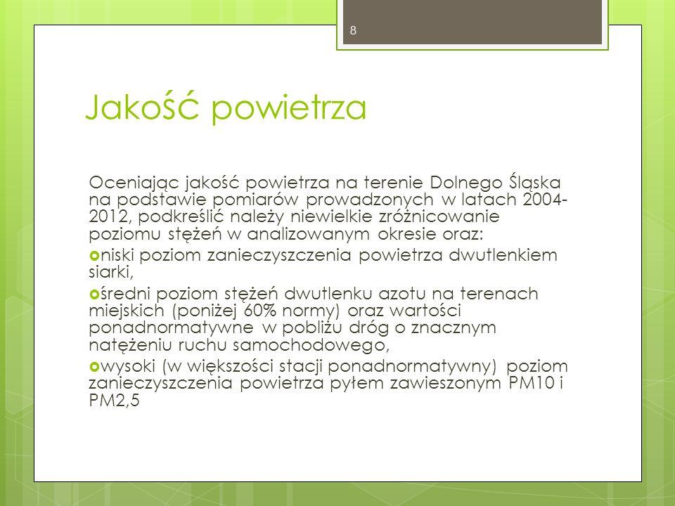 Zarówno dla azotu ogólnego, jak i fosforu – poza nietypowym rokiem 2011 – utrzymuje się tendencja spadkowa stężeń Zmiany stężeń azotu ogólnego w JCW rzecznych w województwie dolnośląskim w latach 2007-2012 (źródło: WIOŚ) Zmiany stężeń fosforu ogólnego w JCW rzecznych w województwie dolnośląskim w latach 2007-2012 (źródło: WIOŚ) 19