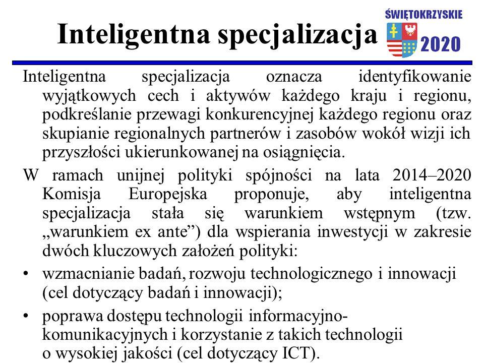 Inteligentna specjalizacja Inteligentna specjalizacja oznacza identyfikowanie wyjątkowych cech i aktywów każdego kraju i regionu, podkreślanie przewag