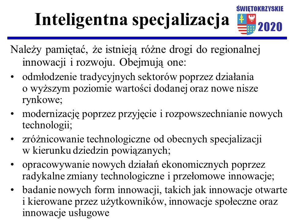 Inteligentna specjalizacja Należy pamiętać, że istnieją różne drogi do regionalnej innowacji i rozwoju. Obejmują one: odmłodzenie tradycyjnych sektoró