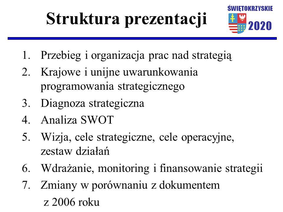 Struktura prezentacji 1.Przebieg i organizacja prac nad strategią 2.Krajowe i unijne uwarunkowania programowania strategicznego 3.Diagnoza strategiczn
