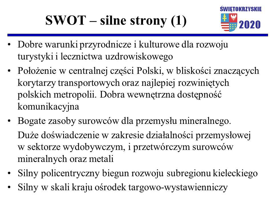 SWOT – silne strony (1) Dobre warunki przyrodnicze i kulturowe dla rozwoju turystyki i lecznictwa uzdrowiskowego Położenie w centralnej części Polski,