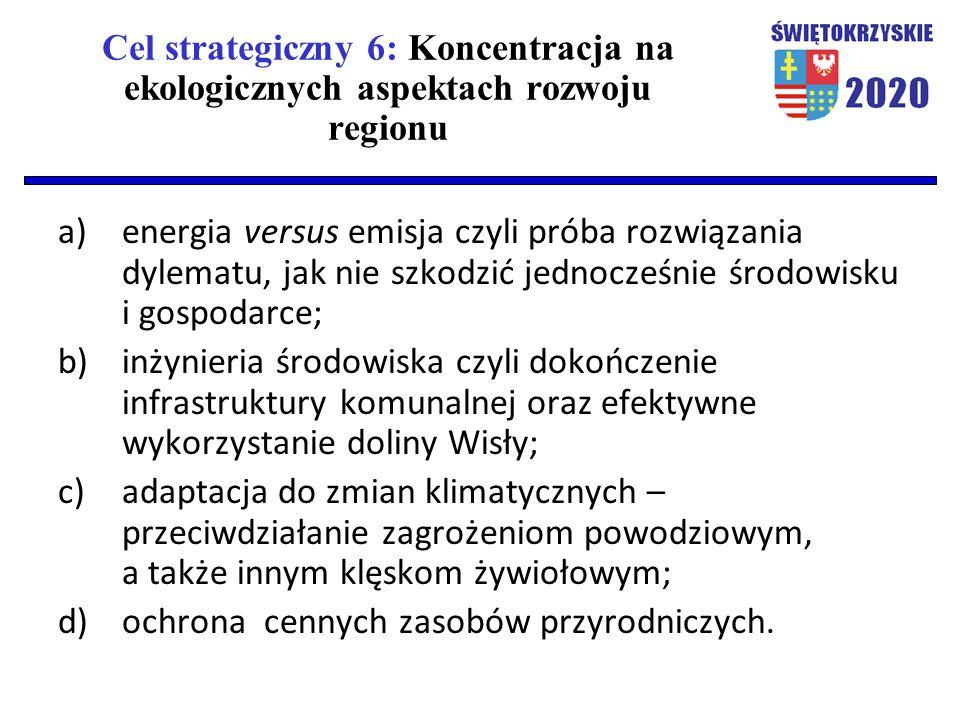 Cel strategiczny 6: Koncentracja na ekologicznych aspektach rozwoju regionu a)energia versus emisja czyli próba rozwiązania dylematu, jak nie szkodzić jednocześnie środowisku i gospodarce; b)inżynieria środowiska czyli dokończenie infrastruktury komunalnej oraz efektywne wykorzystanie doliny Wisły; c)adaptacja do zmian klimatycznych – przeciwdziałanie zagrożeniom powodziowym, a także innym klęskom żywiołowym; d)ochrona cennych zasobów przyrodniczych.