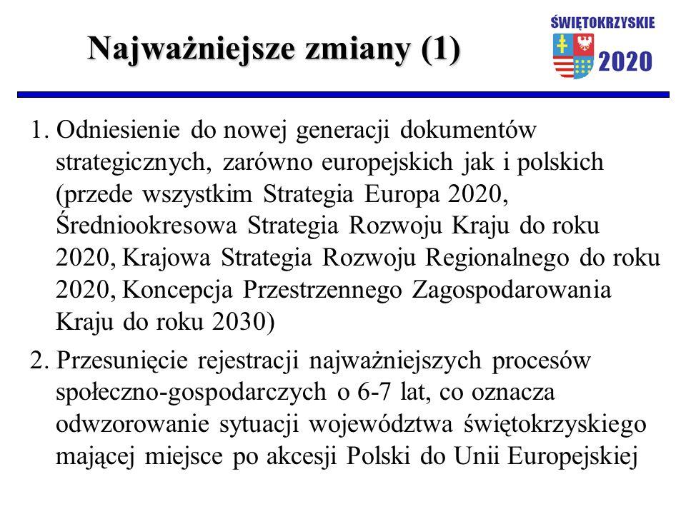 Najważniejsze zmiany (1) 1. Odniesienie do nowej generacji dokumentów strategicznych, zarówno europejskich jak i polskich (przede wszystkim Strategia