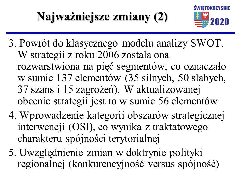 Najważniejsze zmiany (2) 3. Powrót do klasycznego modelu analizy SWOT. W strategii z roku 2006 została ona rozwarstwiona na pięć segmentów, co oznacza