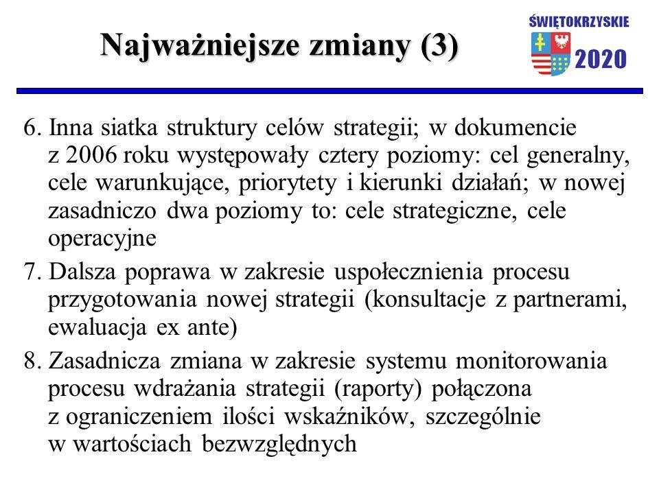 Najważniejsze zmiany (3) 6. Inna siatka struktury celów strategii; w dokumencie z 2006 roku występowały cztery poziomy: cel generalny, cele warunkując