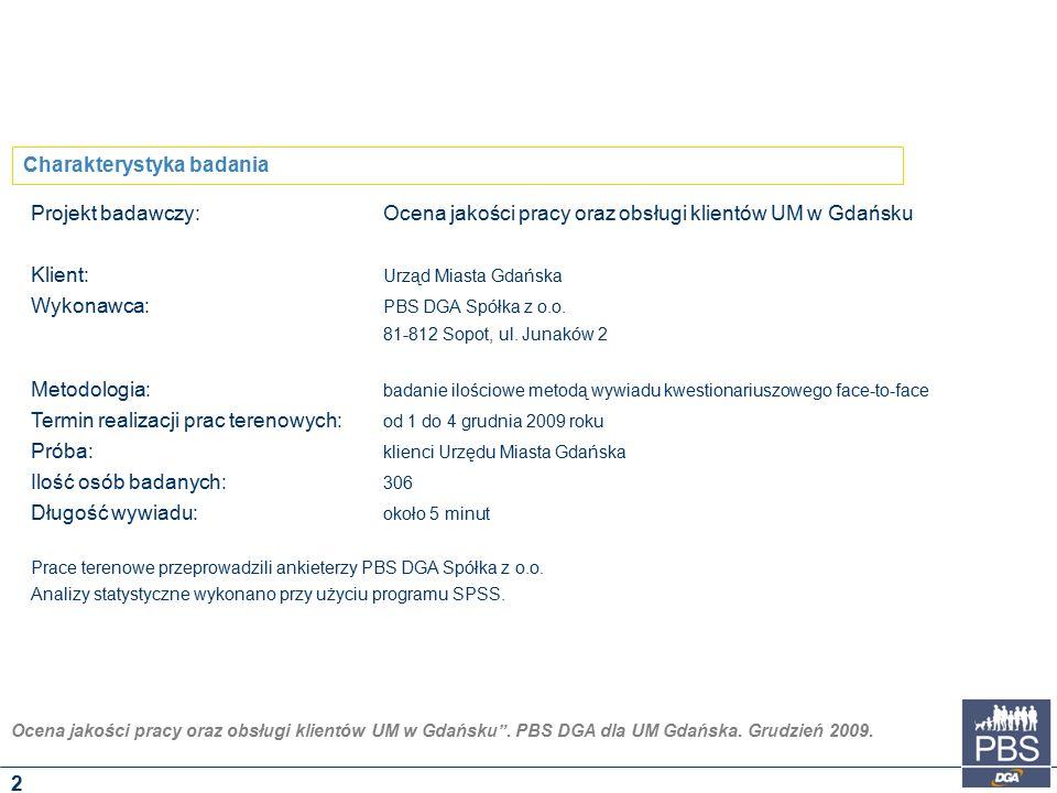 """Ocena jakości pracy oraz obsługi klientów UM w Gdańsku"""". PBS DGA dla UM Gdańska. Grudzień 2009. Projekt badawczy:Ocena jakości pracy oraz obsługi klie"""