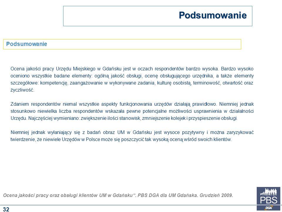 """Ocena jakości pracy oraz obsługi klientów UM w Gdańsku"""". PBS DGA dla UM Gdańska. Grudzień 2009. Podsumowanie Podsumowanie 32 Ocena jakości pracy Urzęd"""