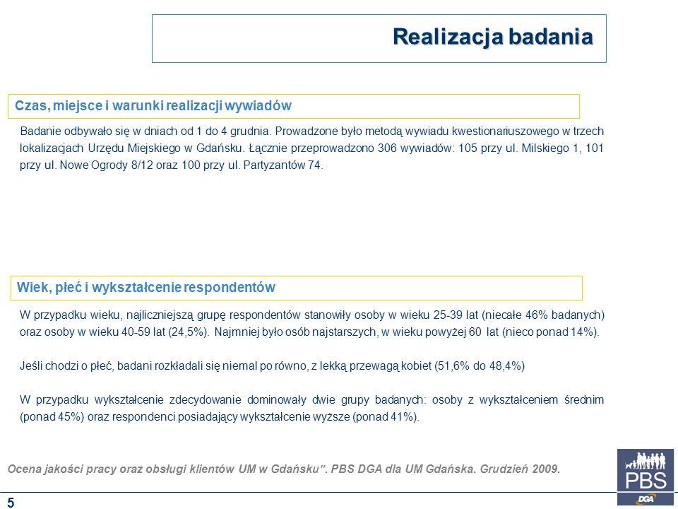 """Ocena jakości pracy oraz obsługi klientów UM w Gdańsku"""". PBS DGA dla UM Gdańska. Grudzień 2009. Badanie odbywało się w dniach od 1 do 4 grudnia. Prowa"""